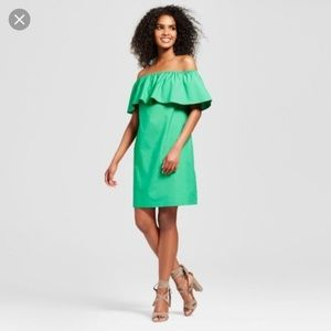 Bright Kelly Green Ruffle Dress